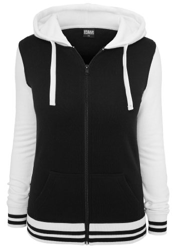 Urban Classics Ladies 2-Tone College Zip Hoody, black/white Black/White