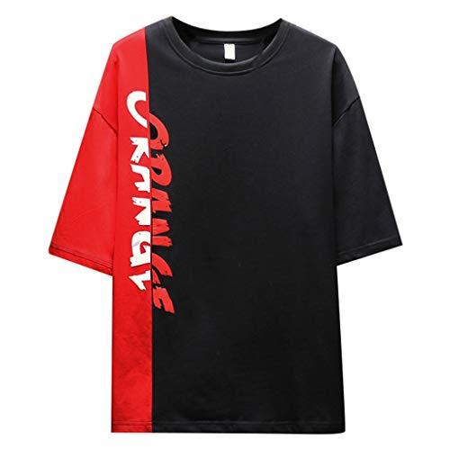 Crazboy Herren Sommer modische einfarbige Hemden Kurzarm komfortable Bluse(Large,Schwarz-A) (Damen 7 Jockey-unterwäsche Größe)