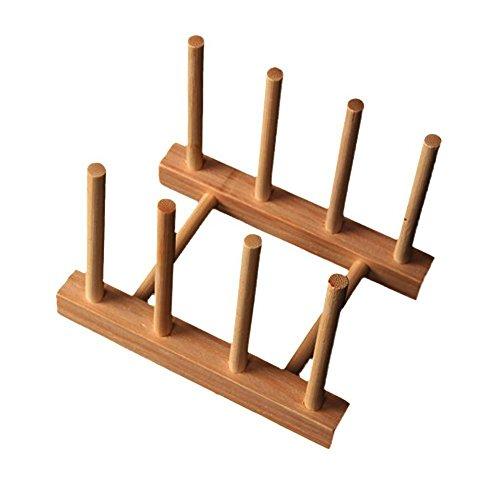 Xiton Bambus Abnehmbare Platten-Teller Abfluss Rack-Küche-Speicher-Halter (Bambus) (Platte Speicher-rack)