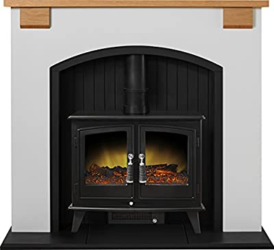 Adam Vermont Stove Suite in Cream with Woodhouse Electric Stove in Black, 48 Inch