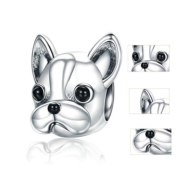 925 Sterling Silver French Bulldog Bead Charms, Fashion Animal Beads fit Women Charm Bracelets Dog Jewelry Accessories Best Gift 41U3mtruHiL