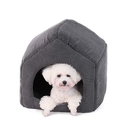 Ohana - Caseta Cuadrada 2 en 1 para Perro, Interior con Techo sofá Cama con cojín Desmontable para Gatos y Perros