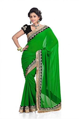 Chirag Sarees Chiffon Lace Saree (Green) -298-F