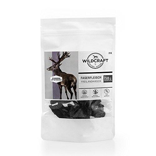 Wildcraft | Naturkausnack | Faserfleisch Freilandhirsch | 5 x 50 g | schonend luftgetrocknet | Muskelfleisch | gesunde Belohnung | naturbelassen | ohne Zusatzstoffe und Geschmacksverstärker