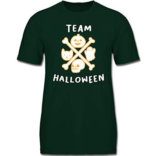 Anlässe Kinder - Team Halloween - 152 (12-13 Jahre) - Tannengrün - F130K - Jungen Kinder T-Shirt