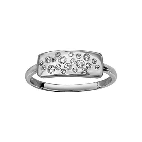 So Chic gioielli Anello vassoio rettangolare Eclats ossido di zirconio bianco argento 925, Argento 925/1000, 14, cod. M60744