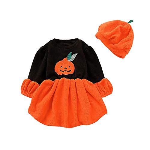 Mädchen Kostüm Baby Figur Cartoon - Riou Halloween Baby Kostüm Fasching Karneval Party Cospaly Costume Kürbis Kostüm Baby Mädchen Langarm Cartoon Pumpkin Printed Tutu Kleid + Hut Outfits Set (100, Orange)