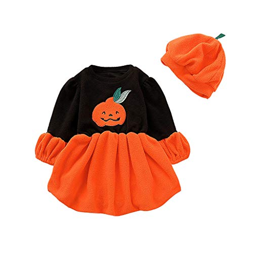 Riou Halloween Baby Kostüm Fasching Karneval Party Cospaly Costume Kürbis Kostüm Baby Mädchen Langarm Cartoon Pumpkin Printed Tutu Kleid + Hut Outfits Set (100, Orange)