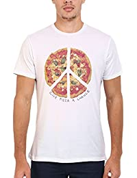 Give Pizza A Chance World Peace Love White Blanc Femme Homme Men Women Unisex Top T-Shirt