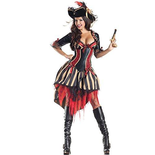 Cosfun Damen Pirate Queen Kleidung Fun Uniformen Halloween Kostüm Animation Cosplay Kleid Hut Set - Pirate Queen Sexy Kostüm