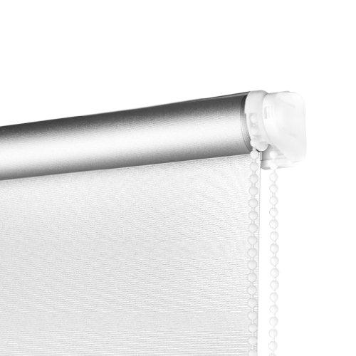 SHINY HOME® Rollo (Breite und Höhe) 80 x 175cm für Fenster Tür Jalousie Rollos Sonnenschutzrollo mit Klemmträgern Verdunklung Verdunklungsrollo Klemmträger Fensterrollo Silberbeschichtung (Weiss)