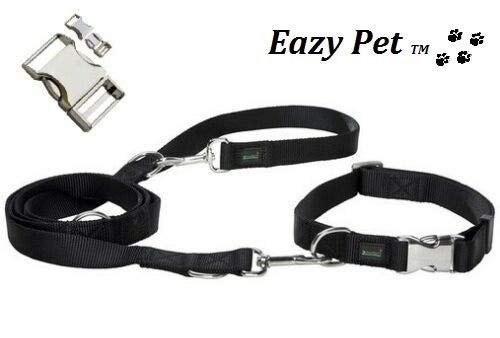 St Bernard Dog Collar And Lead Collar And Leash Weather Resistant Heavy Duty Walking Training Harness Black And Chrome With Side Quick Release Buckle