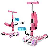 WeSkate 3 wheel Scooter with Folding Seat, 2-in-1 Adjustable Kids Scooters for Girls & Boys with 3 Extra-Wide Lighting Wheels,kick scooter for Children 2 years old and up