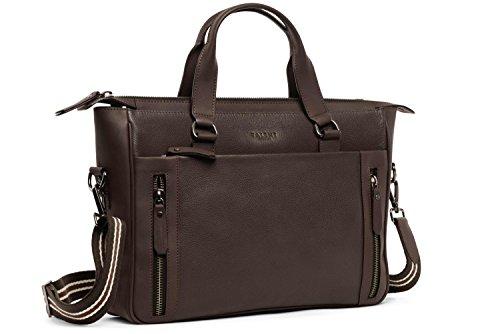 - Kalbsleder-tasche (TALENT 'Goethe' Handtasche - Damen Henkeltasche Umhängetasche 15 Zoll Laptop Kalbsleder Dunkelbraun)