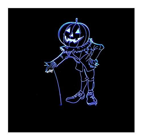 WFTD 3D Kürbis Mann Illusion Lampe 7 Farben LED Nachtlichter Muster Nachttisch Lampe USB-Strom mit Fernbedienung dekorative Schreibtischlampe (Machen Sie Einen Halloween-kürbis Letzte)