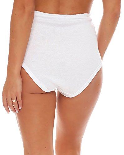 3er Pack Damen Taillen-Slips mit Baumwollspitze (Schlüpfer, Slip, Unterhose) Nr. 407 ( Weiß / 60/62 ) - 3
