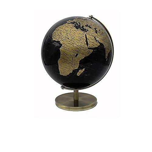 32cm hoher Globus in Gold und Schwarz, drehbar, Atlas, Heimdekor, erlesenes Schreibtisch-Ornament