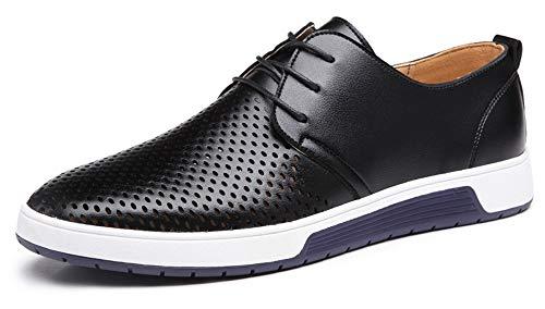 CAGAYA Herren Freizeit Schuhe aus Leder Business Anzugschuhe Atmungsaktiv Lederschuhe Oxford Halbschuhe Party Hochzeit übergrößen 38-46 (39, Schwarz-Mesh)