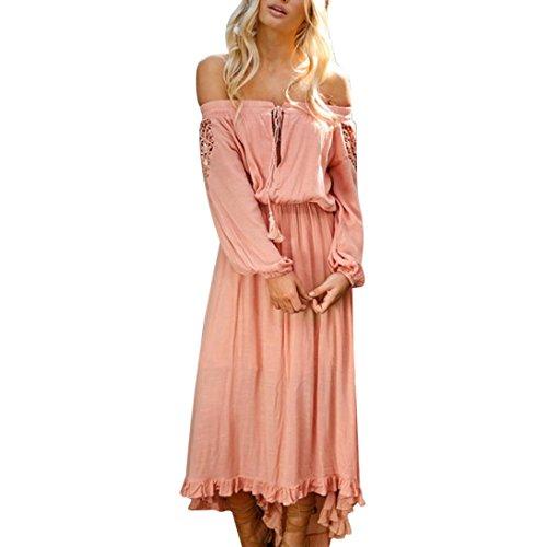 Kostüm Prinzessin Teen Junior - OverDose Damen Solide Schulterfrei Strandkleid Frühling Sommer kleid karneval Party kleid Lace Up Patchwork Elastisches Langarm Kleid Maxi Kleid(A-Rosa,XL)