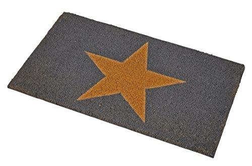 Premium Fußmatte Stern aus Gummi und Kokosfasern, 75 x 46 cm | ✓ 3 kg Fußabtreter verhindert verrutschen ✓ Robuste & repräsentative Schmutzfangmatte, Sauberlaufmatte, Schmutzmatte, Fußabstreifer ✓