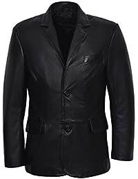 CLASSIC BLAZER TR4080 de los hombres Negro Adaptado Suave Real Nappa Cuero Abrigo de chaqueta