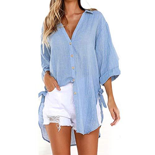 Blusas para Mujer, ❤️ Amlaiworld Camiseta Casual Tops Camisetas Blusa Vestido Camisero Largo con Botones Sueltos para Mujer Blusa Mujer Elegante Tallas Grandes S - XXXL (Azul, 5XL)