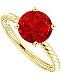 Solo Natural Ruby Designer Rope Ring in 14K Yellow Gold