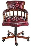 MOREKO Antik-Stil Bürostuhl Massiv-Holz Mahagoni Drehstuhl höhenverstellbarer Schreibtisch-Stuhl rot