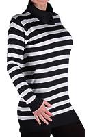 EyeCatch - Ladies Knitted Caul Neck Stripe Jumper Womens Pullover One Size
