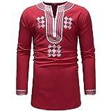 40%-60% Off!Men's Long Sleeve Top Autumn Winter Luxury African Print Dashiki Shirt Blouse