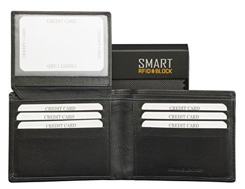 SMART RFID BLOCK Kartenhalter - hochwertiger, Vintage schwarzes Leder - RFID-geschützt - Etui Geldbörse - Geschenkverpackung - TÜV-geprüft - bei KORUMA - (SM-903PBL) -