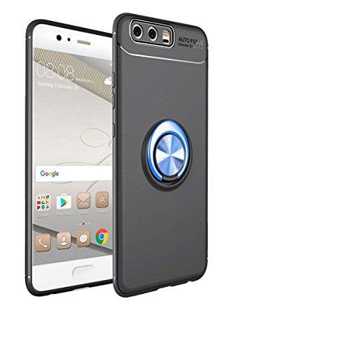 Shinyzone für Huawei P10 Plus Hülle,Schwarz und Blau mit 360 Grad drehbarer Ring Ständer,Ultra Dünn Weich TPU Stoßfest Schutzhülle Kompatibel mit Magnetischer Autohalterung -