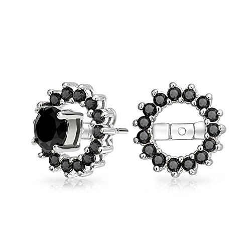 Schwarz Zirkonia Halo Ohrringe Jacke Für Bolzen Für Damen Ohrringe Sterling Silber (Nicht Im Lieferumfang Enthalten) Dress Up Halo