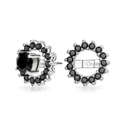 Bling Jewelry 925er Sterlingssilber Silber simulierten Onyx CZ Halo Ohrring Jacken für Bolzen (Halo Zirkonia Bolzen-ohrringe)