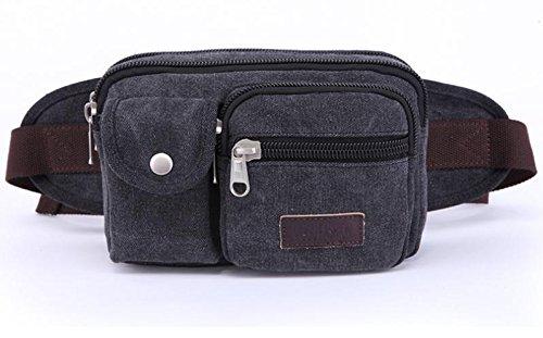 &ZHOU Borsa di tela, Tasche multifunzione sport outdoor uomini e donne equitazione, tela portatile borsa a tracolla , army grey Black