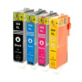 4 Logic-Seek Tintenpatronen kompatibel zu HP 364XL je 1xBK, C, M, Y.BK 28ml, Color je 18ml, mit Chip und Füllstandsanzeige.