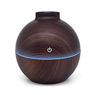 KBAYBO Aroma Diffuser Humidifier Essential Oil Diffuser Air Purifier USB Portable 130ml Touch Sensitive 6 Color LED Lights Changing for Home Office Baby Room Bedroom Yoga Spa Hotel (Dunkles Holz)