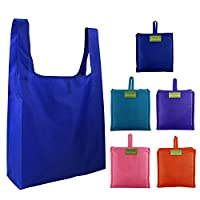Foldable Shopping Bags Reusable Grocery Bags 5 Pack Foldaway Shopper Bags Large Totes for Grocery Shopping with Pouch, Eco-Friendly Supermarket Shopping Bags,Washable & Strong
