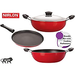 Nirlon Kitchen Non Stick Cookware Pots and Pans Set 3-Piece ( Flat Tawa 30cm, Kadai 2.5 Ltr, Deep Kadai with Lid 2.6 Ltr )