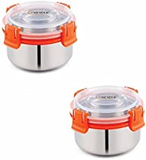 Kinship India Smart Lock N Lock Tiffin Bowl 300 Ml (10 Cm Dia) 2 Containers Stainless Steel Lunch Box