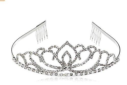 Kanggest Stirnband Diadem Mädchen Kronen Herz Form für Hochzeit Haarband Kopfschmuck Stirnband Tiara (Silbern)