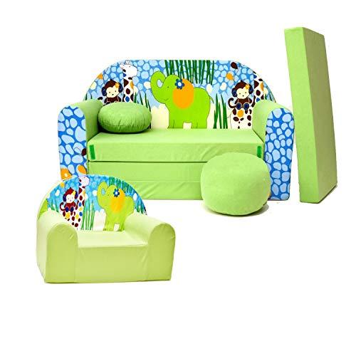 millybo CAMERON Sofa Kindersofa + Sessel 2-er Set Minicouch + Kindersessel grün