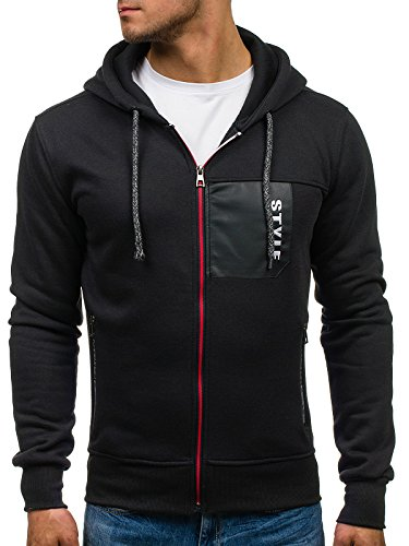 BOLF Herren Sweatshirt mit Kapuze Sweater Kapuzenpullover 1A1 Schwarz_JS17