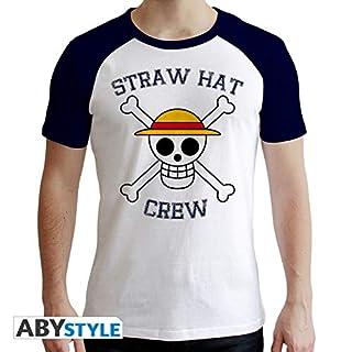 ABYstyle Abysse Corp _ abytex44329One Piece-T-Shirt Skull Man SS Weiß und Blau-Premium, Mehrfarbig