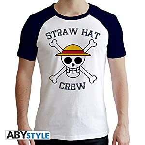 ABYstyle - Camiseta de Manga Corta (Talla XXL), diseño de Calavera, Color Blanco y Azul