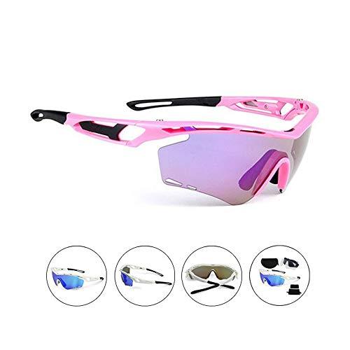 Chengzuoqing Polarisierte Sport Herren Sonnenbrille Sonnenbrillen Radfahren Sportbrillen Schutzbrillen polarisierte Gläser für Männer und Frauen Ski Fahren Golf Laufbrille (Color : Pink)