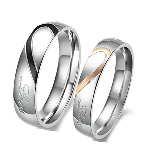 Daesar Männer Real Love Edelstahl Passende Herz Verlobungsringe Hochzeit Ringe größe 57 (18.1)