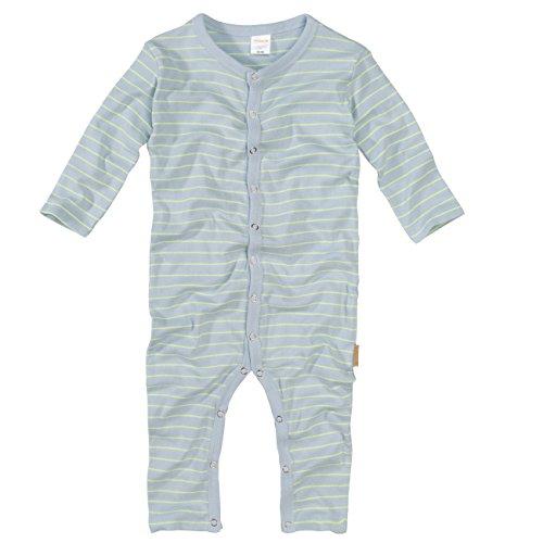 wellyou, Schlafanzug, Pyjama für Jungen und Mädchen, Einteiler langarm, Baby Kinder, hellblau neon-gelb gestreift, geringelt, Feinripp 100% Baumwolle, Größe 68-74 (Langarm-pyjamas Gelb,)