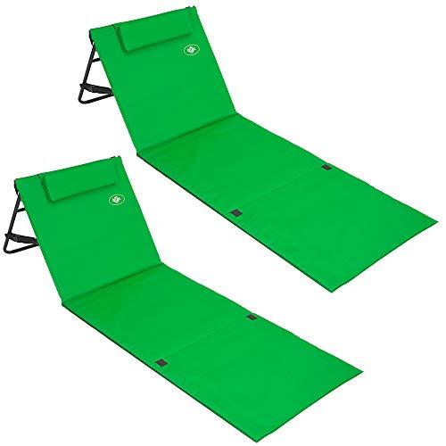 Deuba 2X Strandmatte Faltbar Gepolstert Kissen Verstellbare Rückenlehne Staufach Badematte Isomatte Strandtuch Grün -