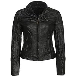 Malito Mujer Chaqueta Cuero Sintético Biker Chaqueta Saco Blazer 5179 (Negro, M)
